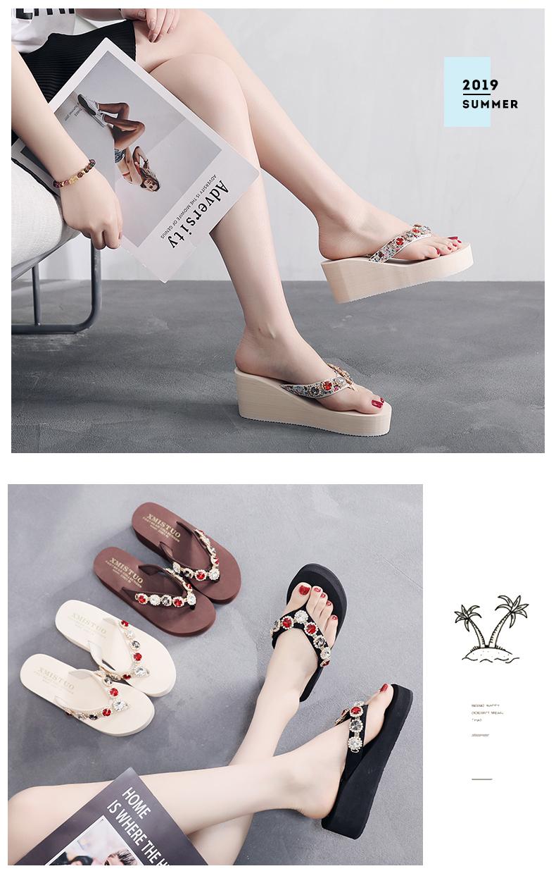 Dép và dép nữ mùa hè 2020 thời trang mới mặc ngoài dép cao gót nặng đáy dép không trượt đá bãi biển
