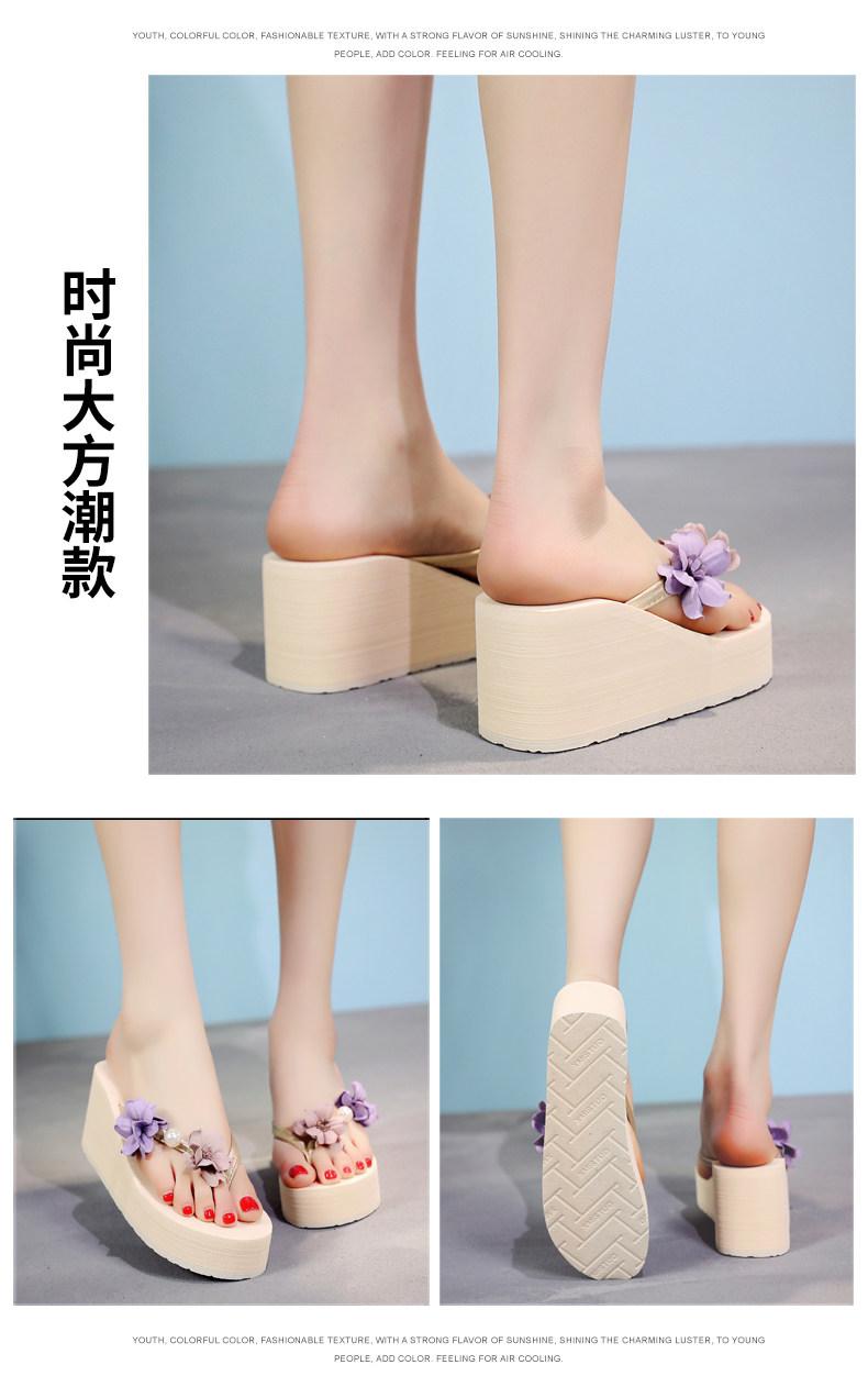 Cao gót flip-flops nữ mùa hè dép thời trang mới bên ngoài mặc vào năm 2019 với không trượt dép lật nêm