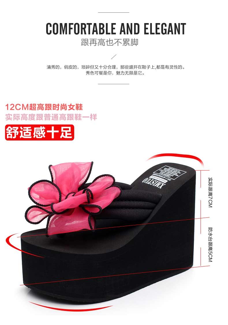 dép cao gót nữ không trượt nặng đáy dép nơ ngọt ngào giày thường tăng độ dốc với dép và dép nữ