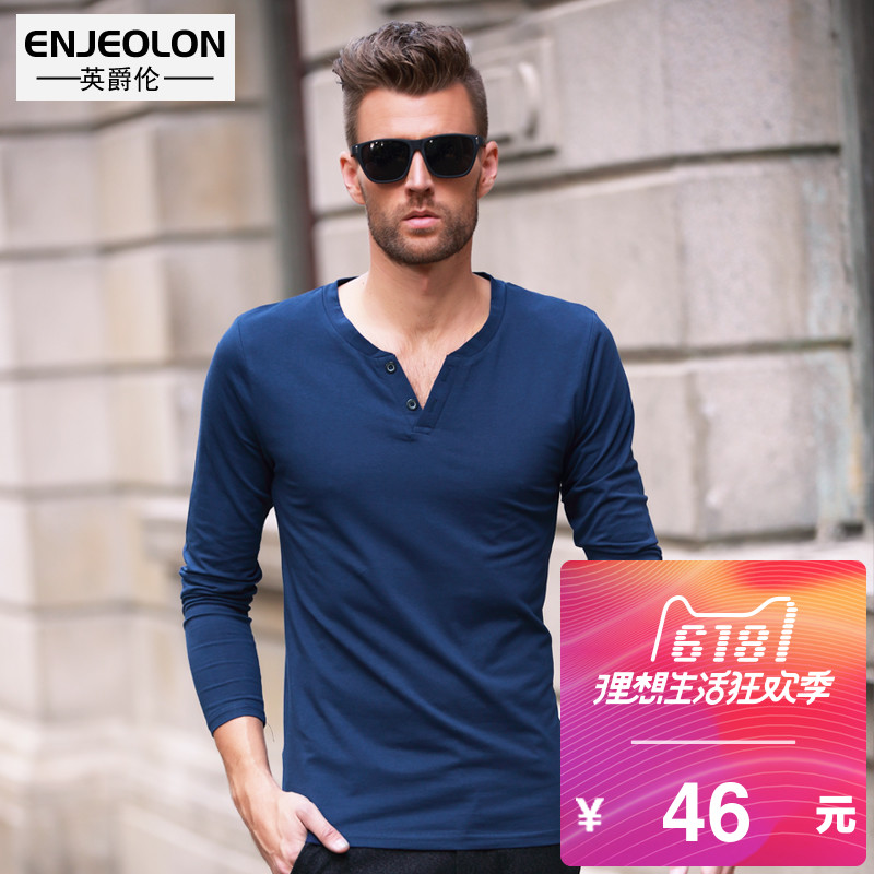 Young man's long sleeve T-shirt spring Slim button v collar Europe and the United States wind simple pure color men's bottom shirt