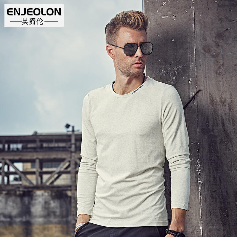 British Jenn Allen spring men's fashion tide brand in Europe and America minimalist solid color long-sleeved T-Shirt bottoming shirt youth T-Shirt