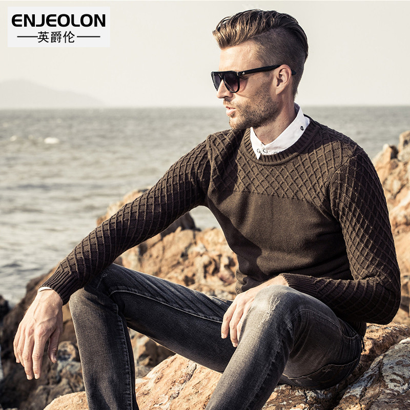 British Jenn Allen autumn and winter men's tops knit sweater Korean version of slim solid color sleeve head Round neck sweater sweater men's