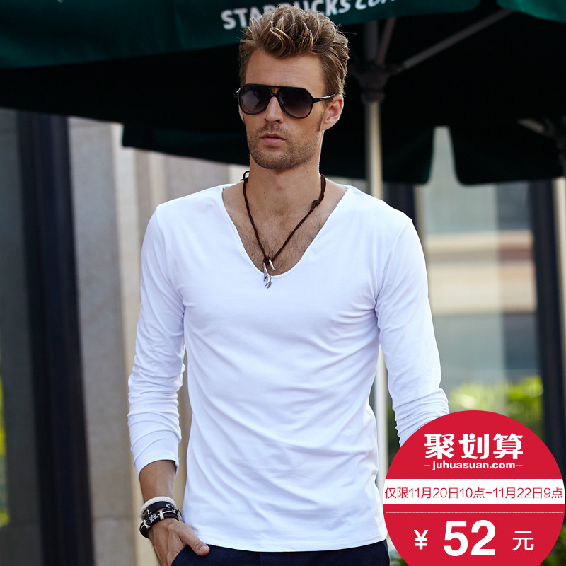 Men's long Sleeve T-shirt men's pure color V collar Spring Autumn pure white men's clothing shirt