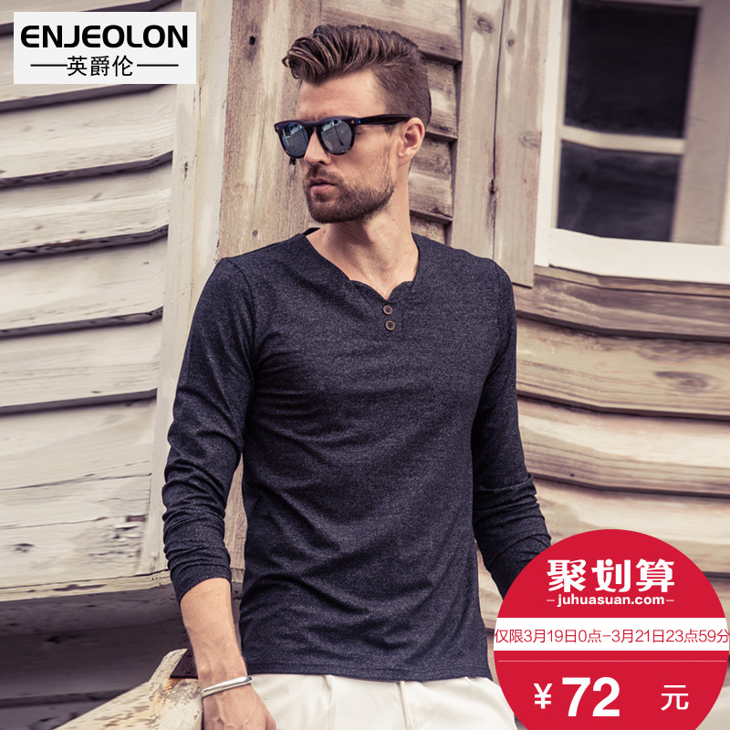 British Jenn Allen spring new products men's long-sleeved T-Shirt personalized V-neck button decorative European and American minimalist bottoming shirt cotton