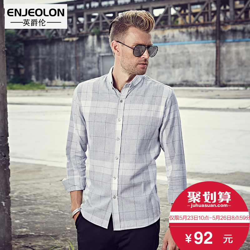 British Jenn Allen men's shirts spring 2018 New Style Fashion plaid shirt Korean version of slim fit long sleeve Business Casual