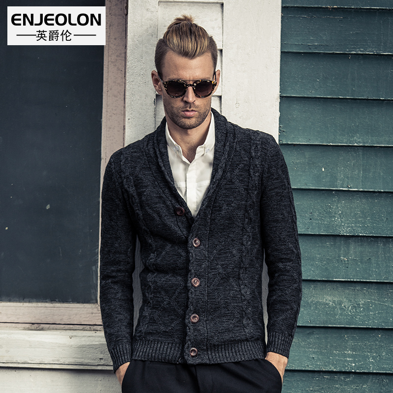 Engelund autumn / winter men's fashion tidal slim V-neck cotton cardigan sweater knit sweater youth Blazer