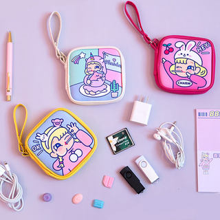 Bar mobile phone data cable charging cable storage bag cartoon cute headset digital package student female soft girl change