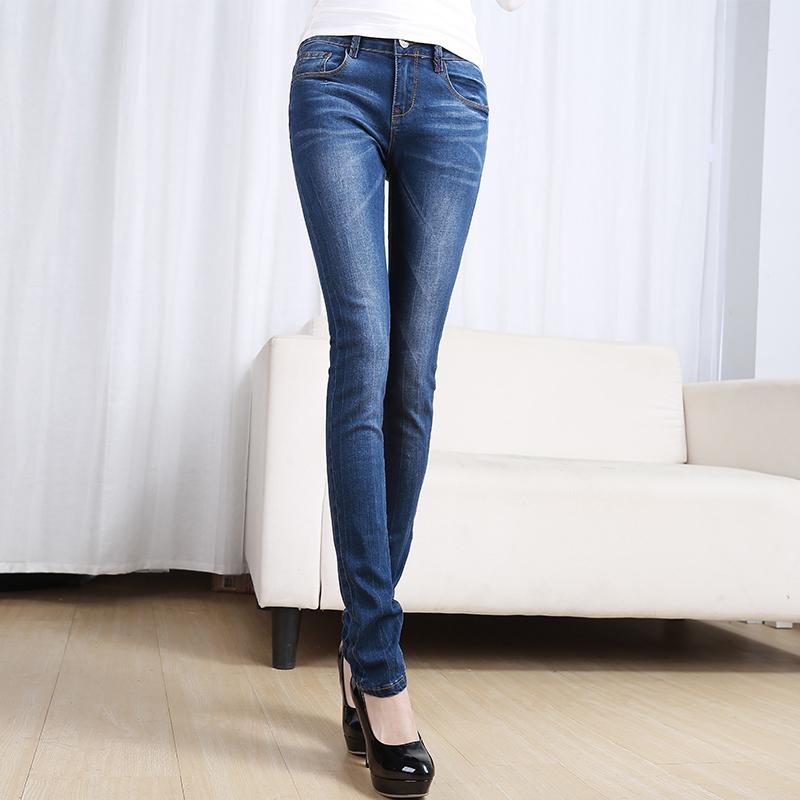 牛仔裤女2018春季新款韩版中腰大码弹力铅笔裤修身百搭小腿裤长裤