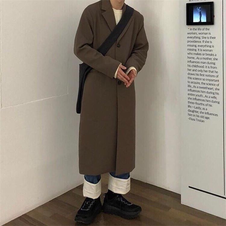 东大门韩国男装代购垂坠过膝长款宽松微阔翻领潮搭秋装风衣外套