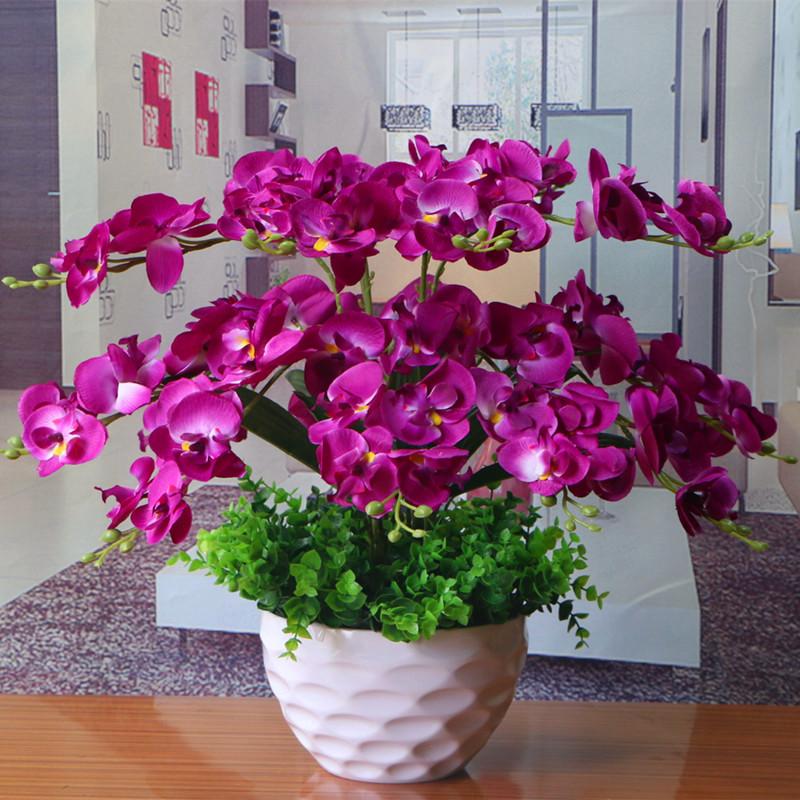 包邮蝴蝶兰花艺盆栽仿真干花套装饰假花绢花客厅餐桌摆设摆放花卉
