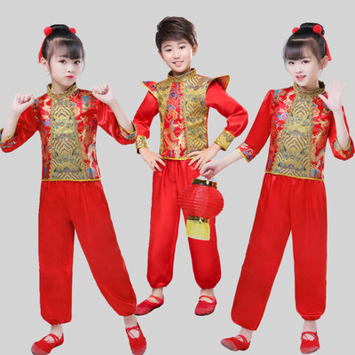 Children chinese dragon drum performance costumes chinese folk dance costumes for children new year Day
