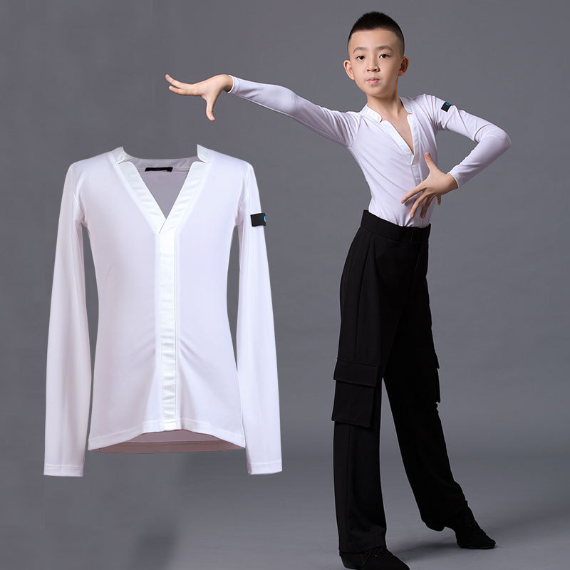 Boys latin dance pants Boys Latin dance competition uniform white top one piece children boys middle school and big children national standard modern dance practice