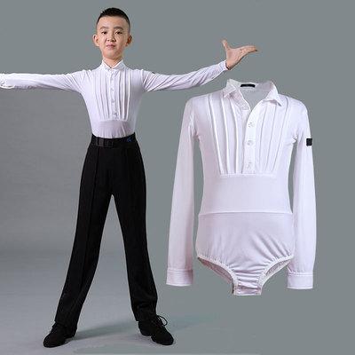 Boys latin dance shirt Boys Latin dance competition dress children boys big boys standing collar Long Sleeve White national standard modern top
