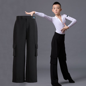 Boys latin dance pants Children dance pocket Wide Leg Pants Boys, middle school and big children professional national standard modern Latin dance competition performance clothing