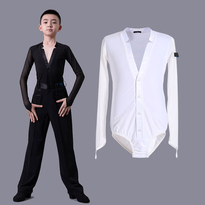 Boys latin dance shirt Boys Latin dance crotch top long sleeve low V children professional national standard dance competition Costume