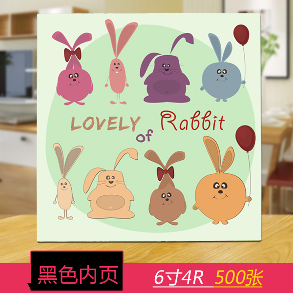 Black inside page 6 inch 500 cute bunny