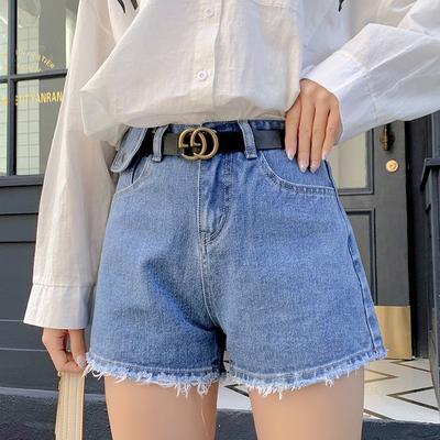 2020高腰减龄牛仔阔腿短裤女