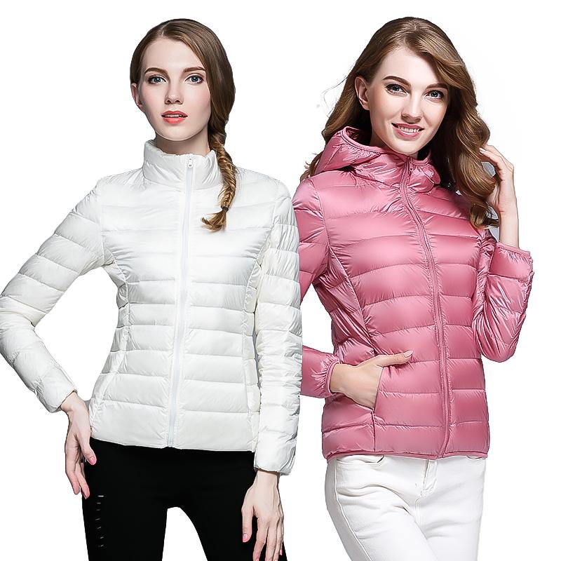 轻薄羽绒服女短款立领连帽时尚韩版修身薄款女款外套大码秋冬反季