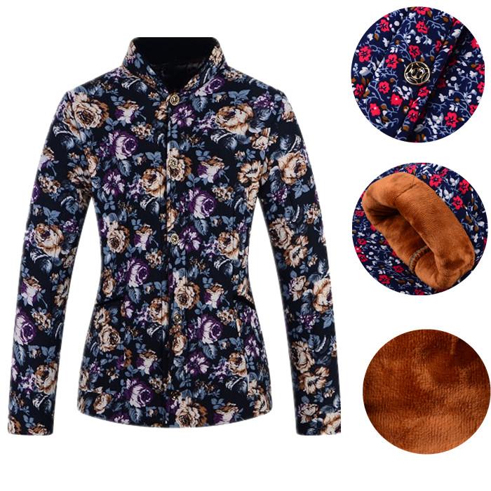 Lạc đà bông bông phụ nữ cộng với nhung áo lót ấm áo lót mùa thu quần áo đơn mảnh trung niên mẹ cardigan ấm hàng đầu