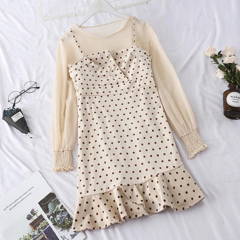 秋冬新款时尚套装女打底修身上衣+波点吊带显瘦鱼尾连衣裙两件套