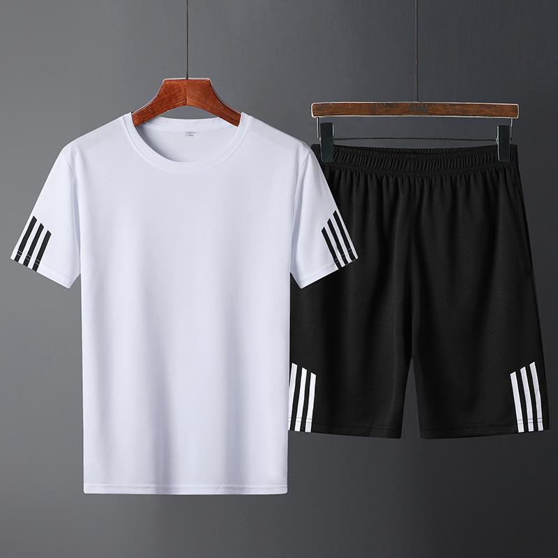 运动套装男夏季速干衣跑步宽松休闲大码UZ短袖t恤健身训练服装