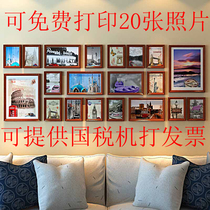 Custom Exit blue black and white solid wood photo frame combination hanging wall living room public