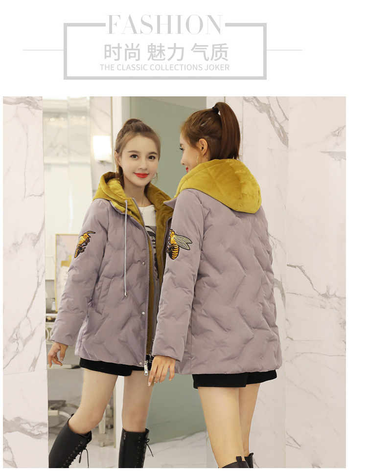 Deep degree 2019 autumn/winter clothing new large size women's autumn/winter fashion bee embroidered hooded cotton 2033 58 Online shopping Bangladesh