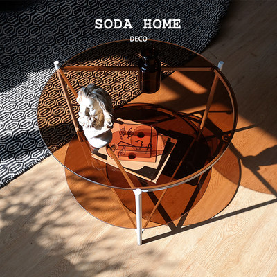 Light luxury Creative Cup Several Double Cement Tea Color Tempered Glass Small Sofa Sand Bed Side Table Living Room Tea