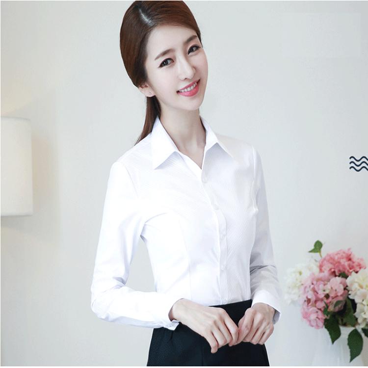 2020新款春季白衬衫女长袖工作服正装职业工装修身韩版OL衬衣寸衫