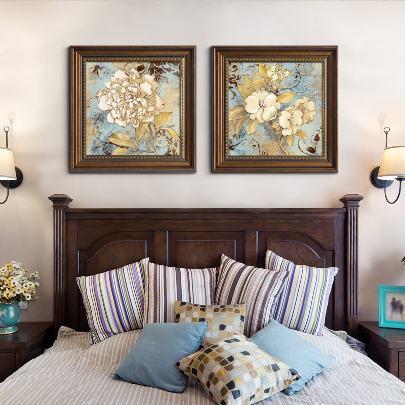 American paintings decorative painting bedroom bedside murals warm and  romantic atmosphere background wall painting modern European restaurant ...