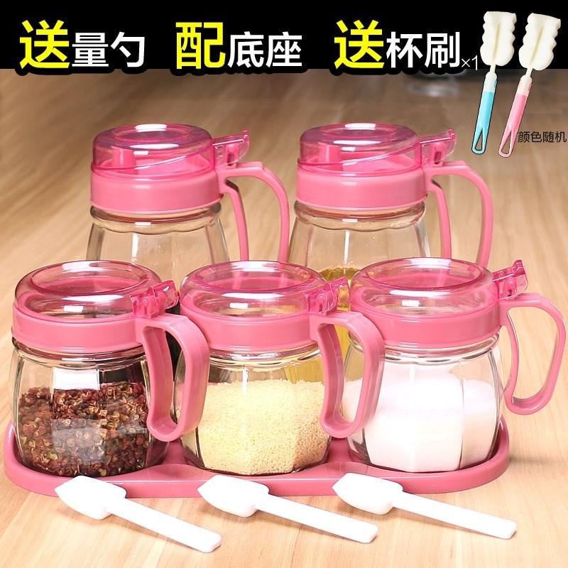 玻璃盒家用调料收纳装大号单个透明瓶酱壶罐罐子盐套装组合调