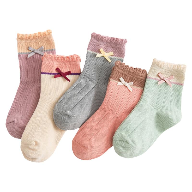 女童袜子纯棉春秋款儿童袜宝宝小女孩中大童秋冬季公主花边中筒袜