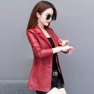 Autumn/Winter New 2020 Haining Women's Leather Short Style Korean Slim Leather Jacket Suit Large Size Women's Small Jacket Trend