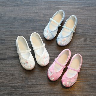 Girls embroidered shoes old Beijing Children's handmade cloth shoes national wind costume Han Chinese clothing embroidered shoes student dance