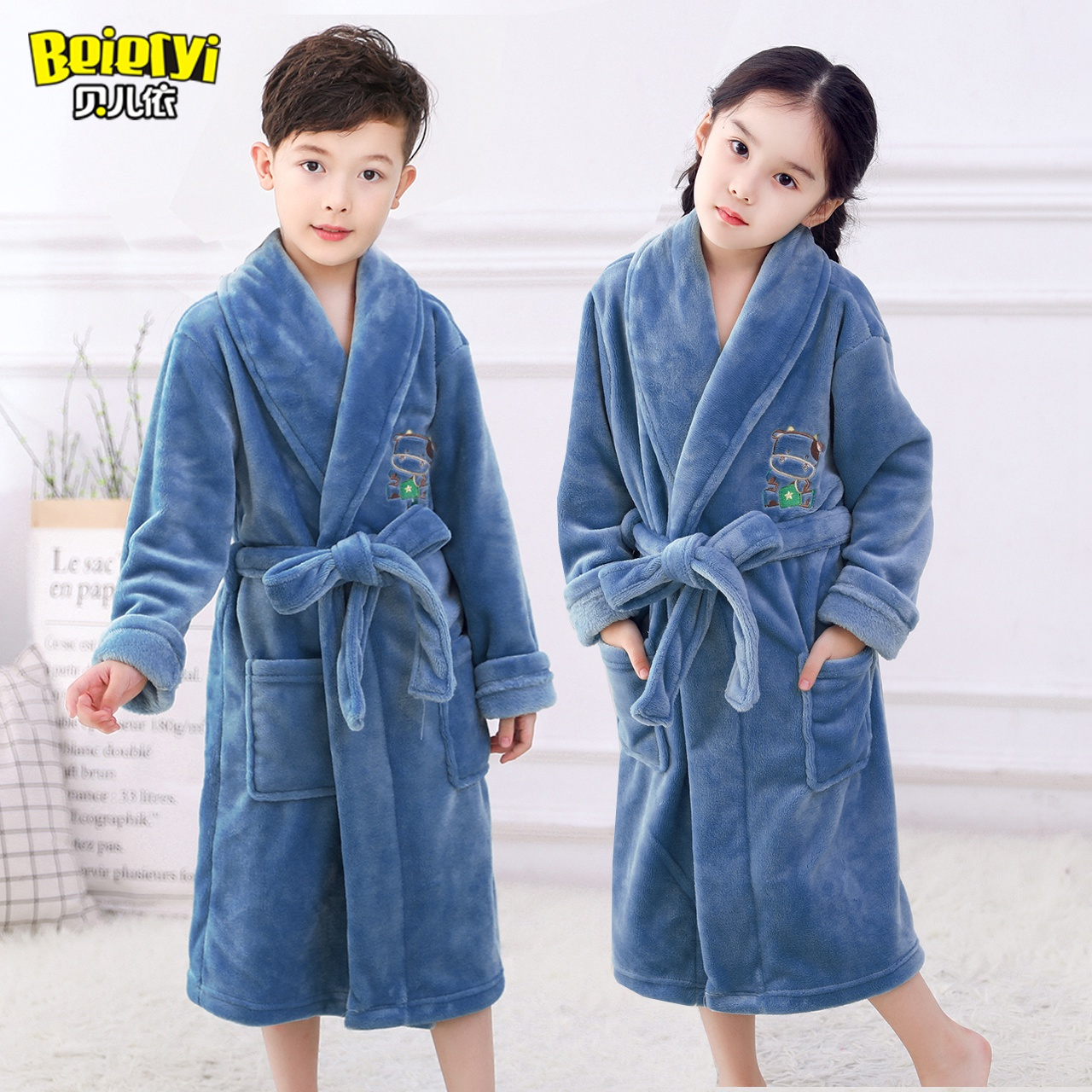 d14e69a2e304 USD 47.43  Children s clothing children s thickened nightgown boys ...