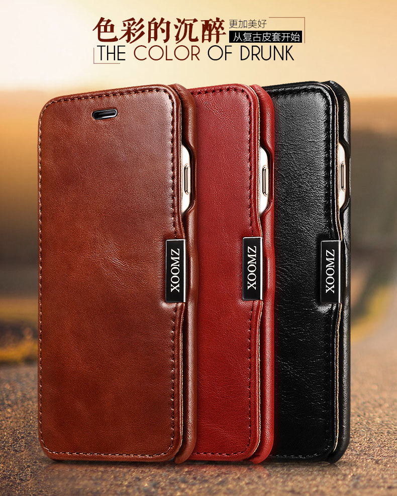 iCarer/XOOMZ Vintage Series Retro Style Side-open Genuine Full Grain Leather Case for Apple iPhone 6S/6 & iPhone 6S Plus/