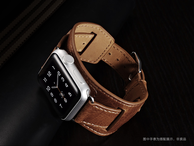 iCarer/XOOMZ Hermès Style Genuine Full Grain Leather Classic Quadri-Watchband Double Tour+Single Tour+Cuff Strap Set for Apple Watch 42mm/38mm