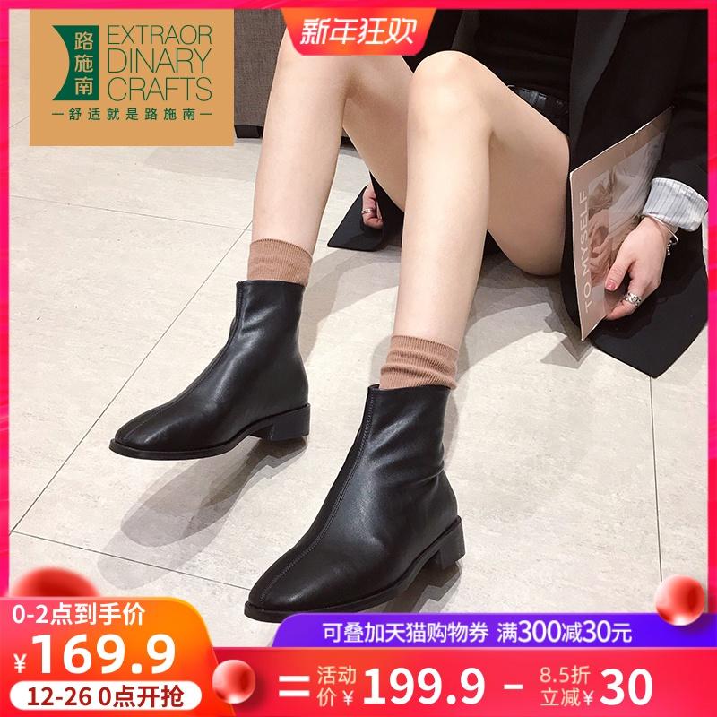 时尚平底短筒靴女潮2019新款短靴百搭v时尚后黑色裸靴欧美拉链女靴