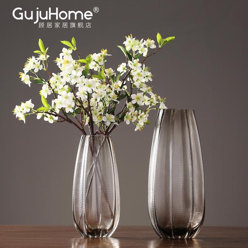 美式水培玻璃花瓶摆件插花客厅创意家居餐厅电视柜台面干花装饰品