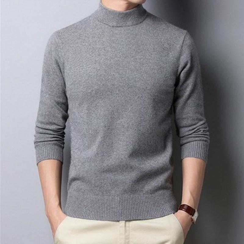 2020男士长袖羊毛衫秋季男修身半高领韩版线衫男装打底加厚毛衣