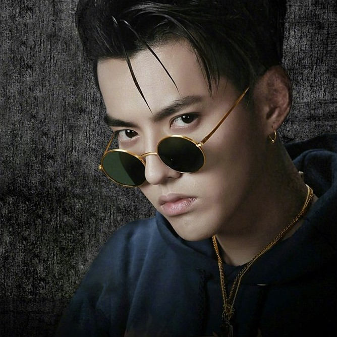 Retro Harajuku net red Wu Yifan with the same paragraph Prince mirror female face Round sunglasses transparent ocean film glasses male