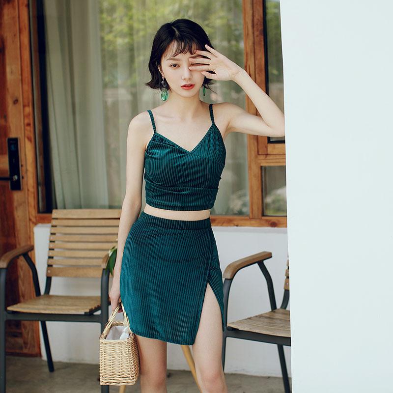 Áo tắm nữ bó sát bảo thủ kiểu váy cạp cao che bụng gợi cảm là kiểu dáng nhỏ nhắn Hàn Quốc nhỏ gọn kiểu bikini mặc bikini ba mảnh phù hợp - Bộ đồ bơi hai mảnh