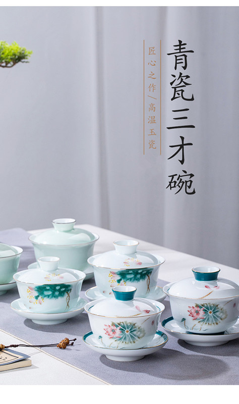 Hand made blue and white porcelain three only high - end individual household kung fu tea tea tureen large cups three fort tureen