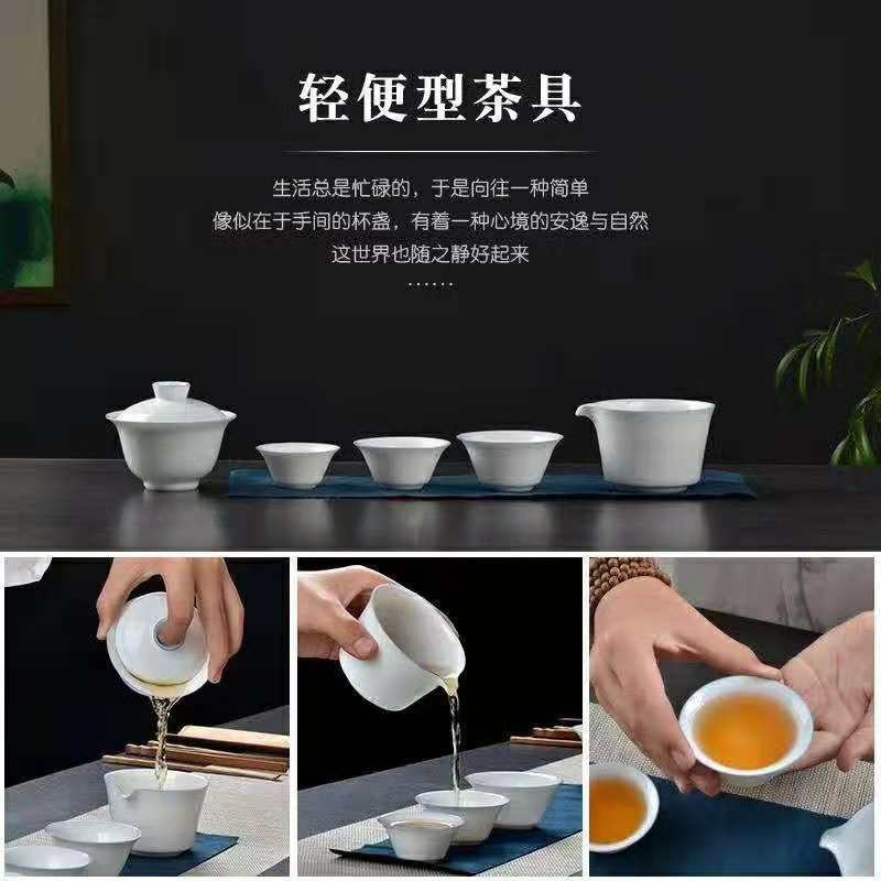 Small poly real view jingdezhen blue expressions using blue edge thin body white porcelain craft tureen travel set of equipping carry - on bag can be customized