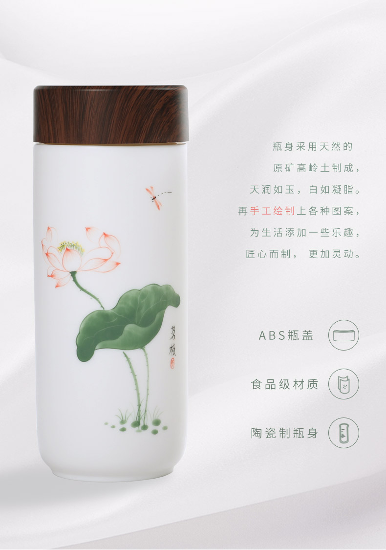 Ceramic hand - made glass vacuum cup white porcelain cup with cover with working meeting of the portable men and women drinking cups