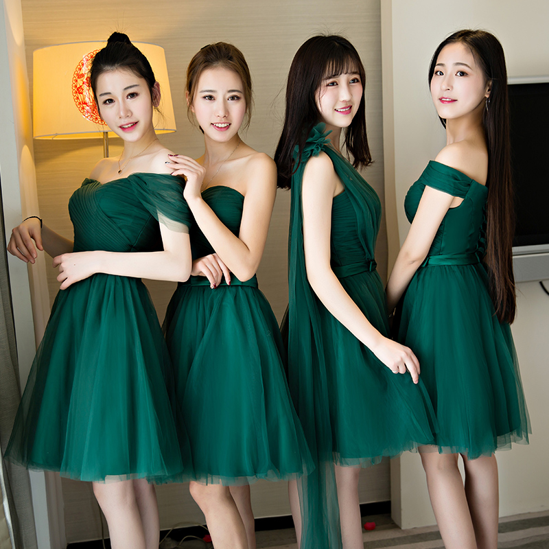 伴娘服短款2019一字肩姐妹裙新款绿色结婚伴娘礼服女闺蜜装蓬蓬裙
