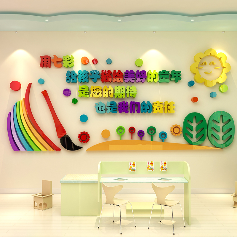 3d stereo wall stickers school art training class background wall ...