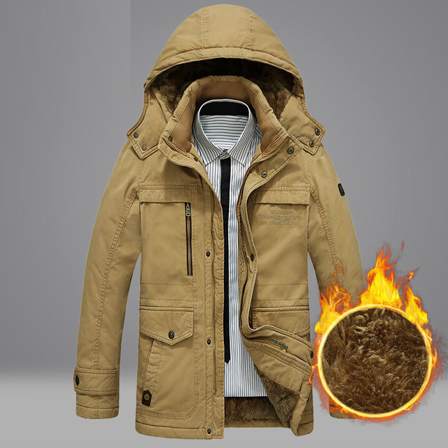Jeep chariot cotton-padded jacket men's winter mid-length cotton loose casual cotton jacket plus velvet thick warm cotton jacket