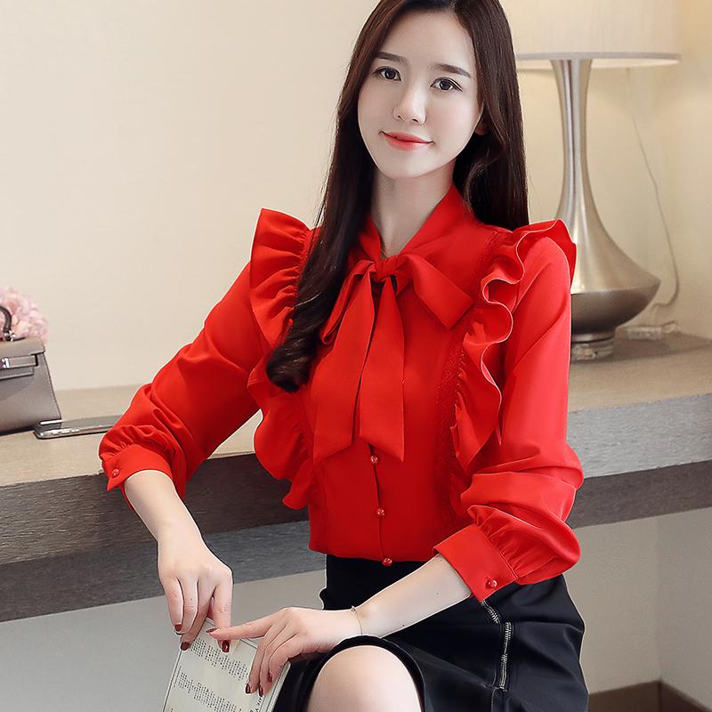 2019春装新款韩版OL衬衫蝴蝶结荷叶边雪纺衫上衣女券后59.00元