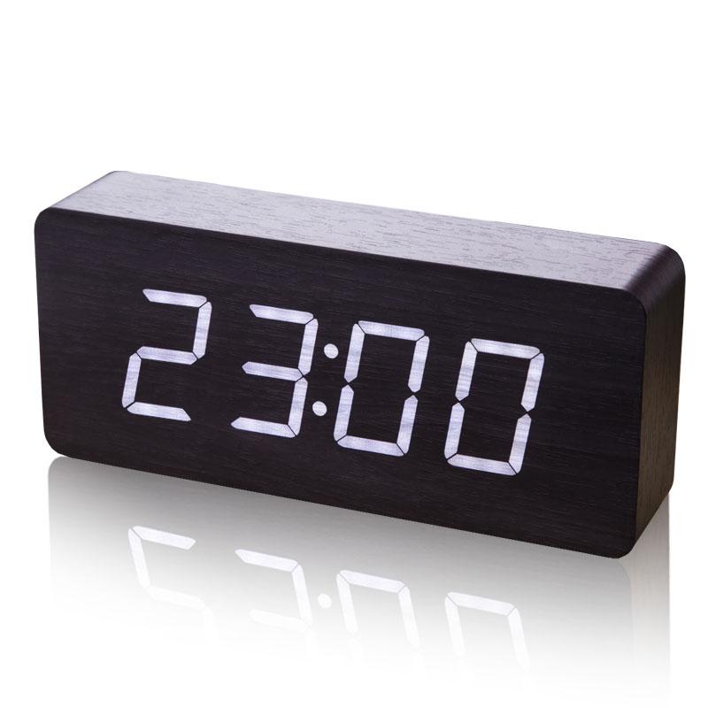 大字LED钟表创意闹电子v大字夜光台钟座钟led家用时钟正品木头